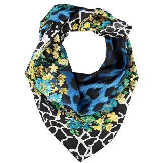 Blue & Yellow Leopard Print Floral Silk Scarf VERSACE 1