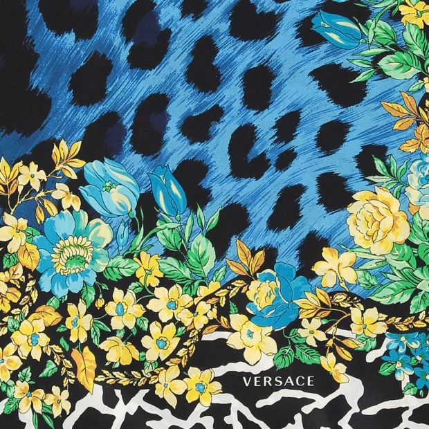Blue Yellow Leopard Print Floral Silk Scarf Versace 2