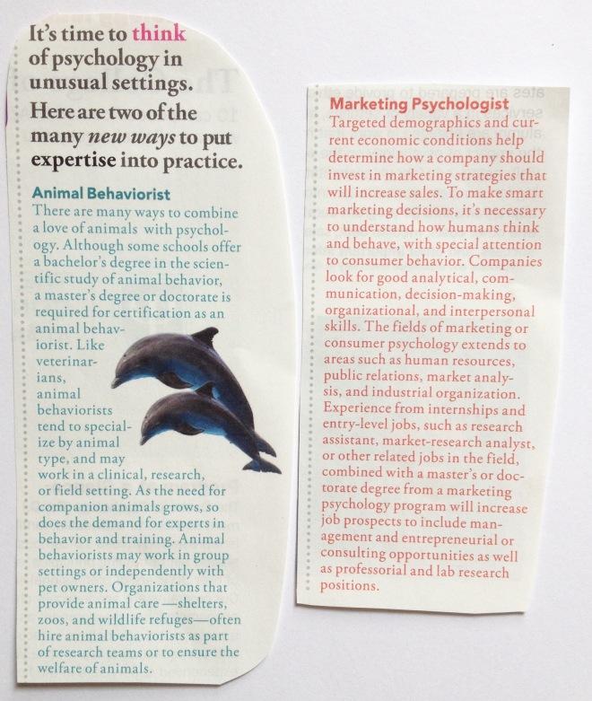 Unusual careers in psychology
